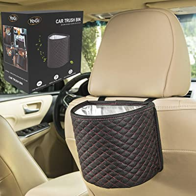YoGi Prime Black car Trash can Garbage Bag for Your auto with Back seat hangings, Elegante Well Design Cars Bags and bin with headrest Holder,Floor Waterproof Mini Container Perfect Best Accessories: Automotive