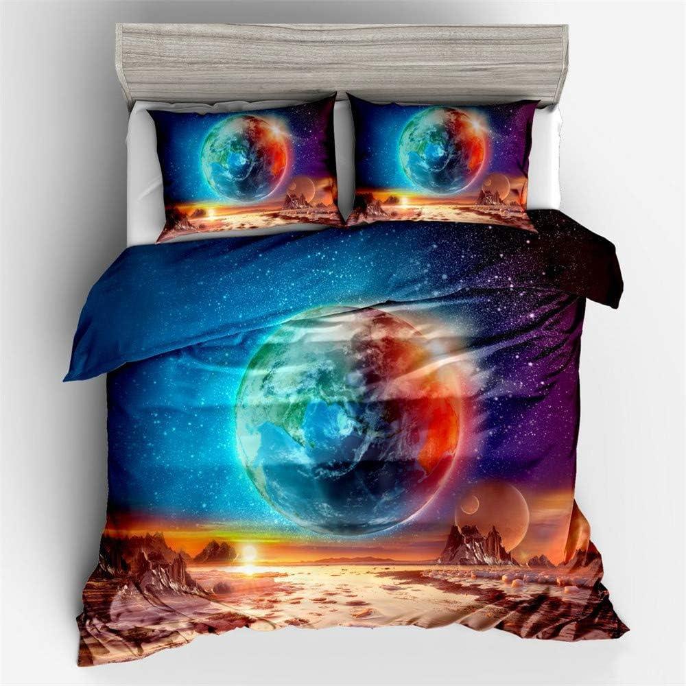 DXSX 3D Galaxy Star Univers Ciel /étoil/é /Étoiles Plan/ète Lunaire Color/é imprim/é Literie Parure de lit pour Adultes et Adolescents Galaxie 01,140 x200 cm