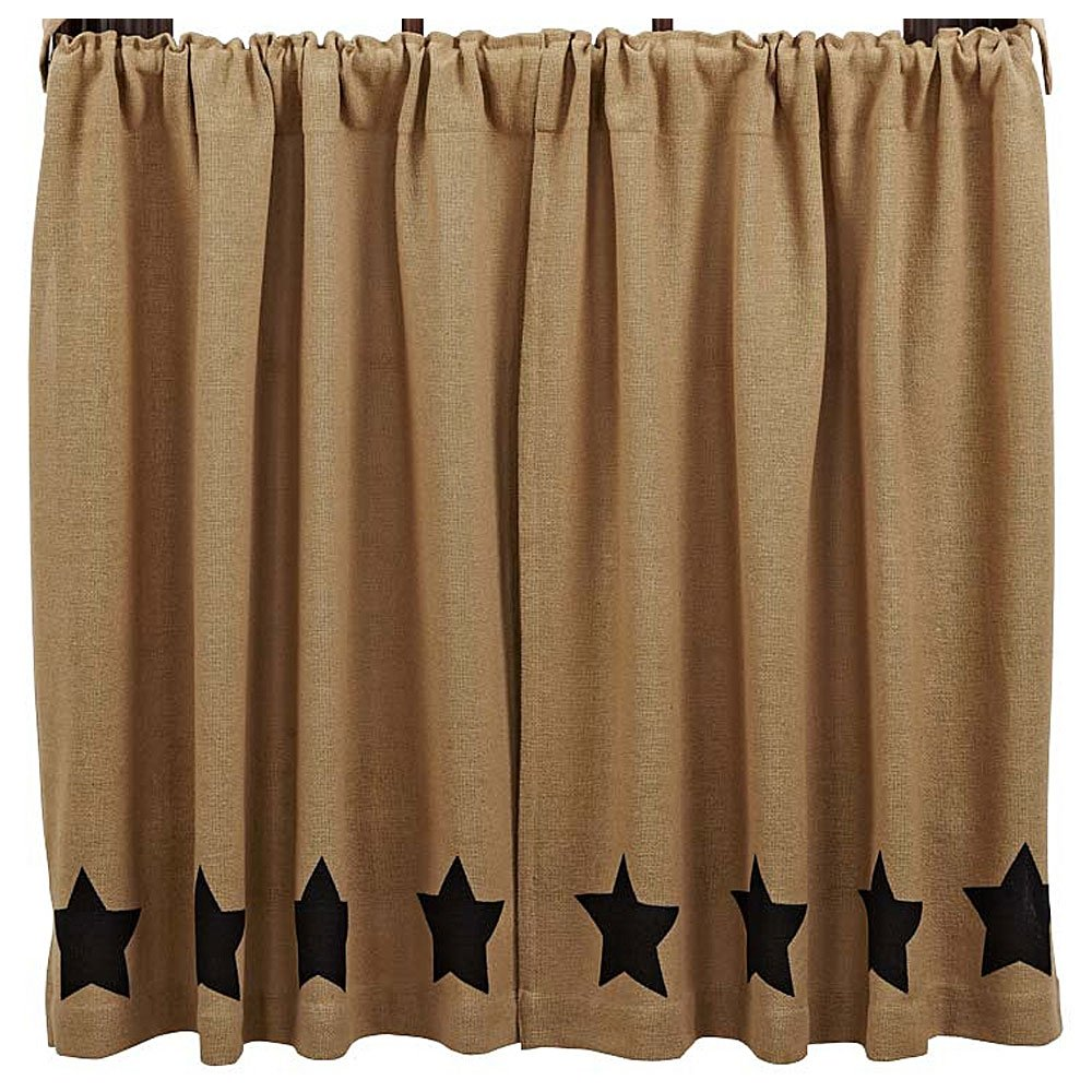 VHC Brands Burlap with Black Stencil Stars Panel Set of 2, 84x40 12393