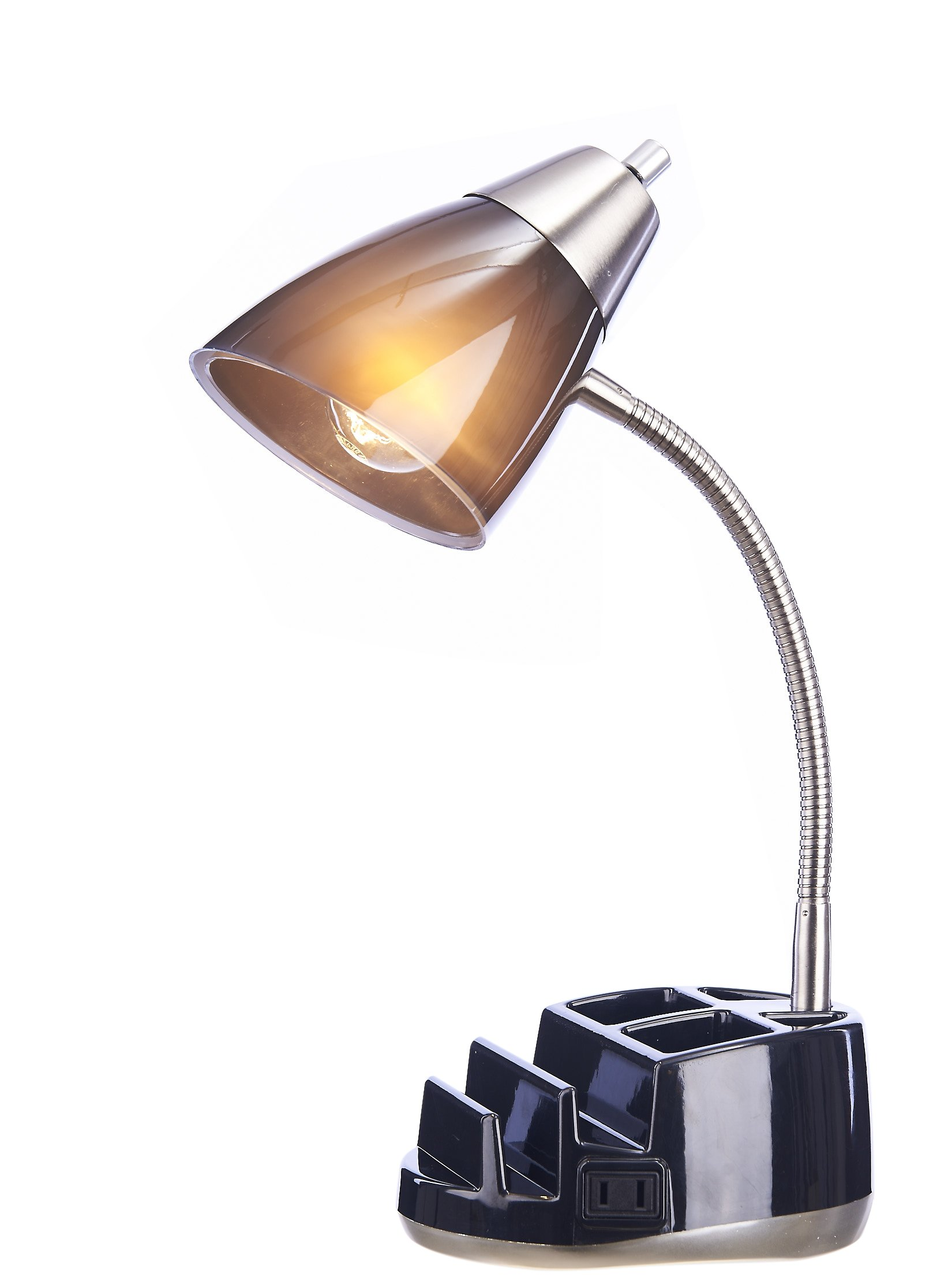 Catalina Lighting 20106-007 Greystone Clear Desk Lamp in a Brushed Steel Shade with Power Outlet, Organizer, Black