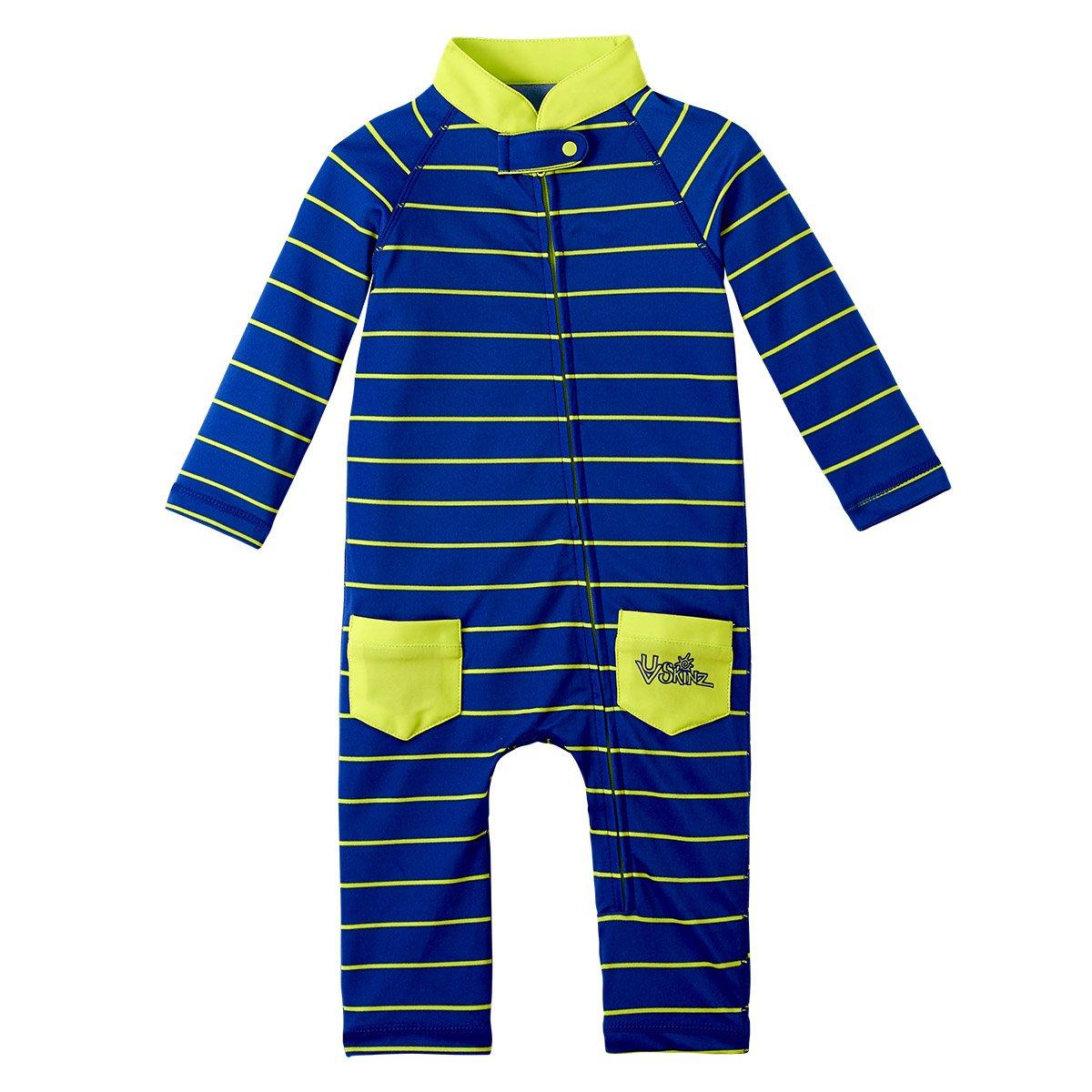 Baby Boy Sun /& Swim Suit-Navy Blue Fun Stripe UV SKINZ UPF50