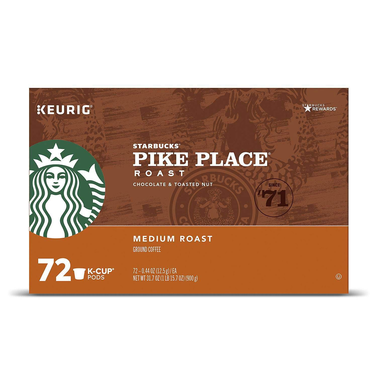 Starbucks Pike Place Roast Medium Keurig K-cups, 72 Count
