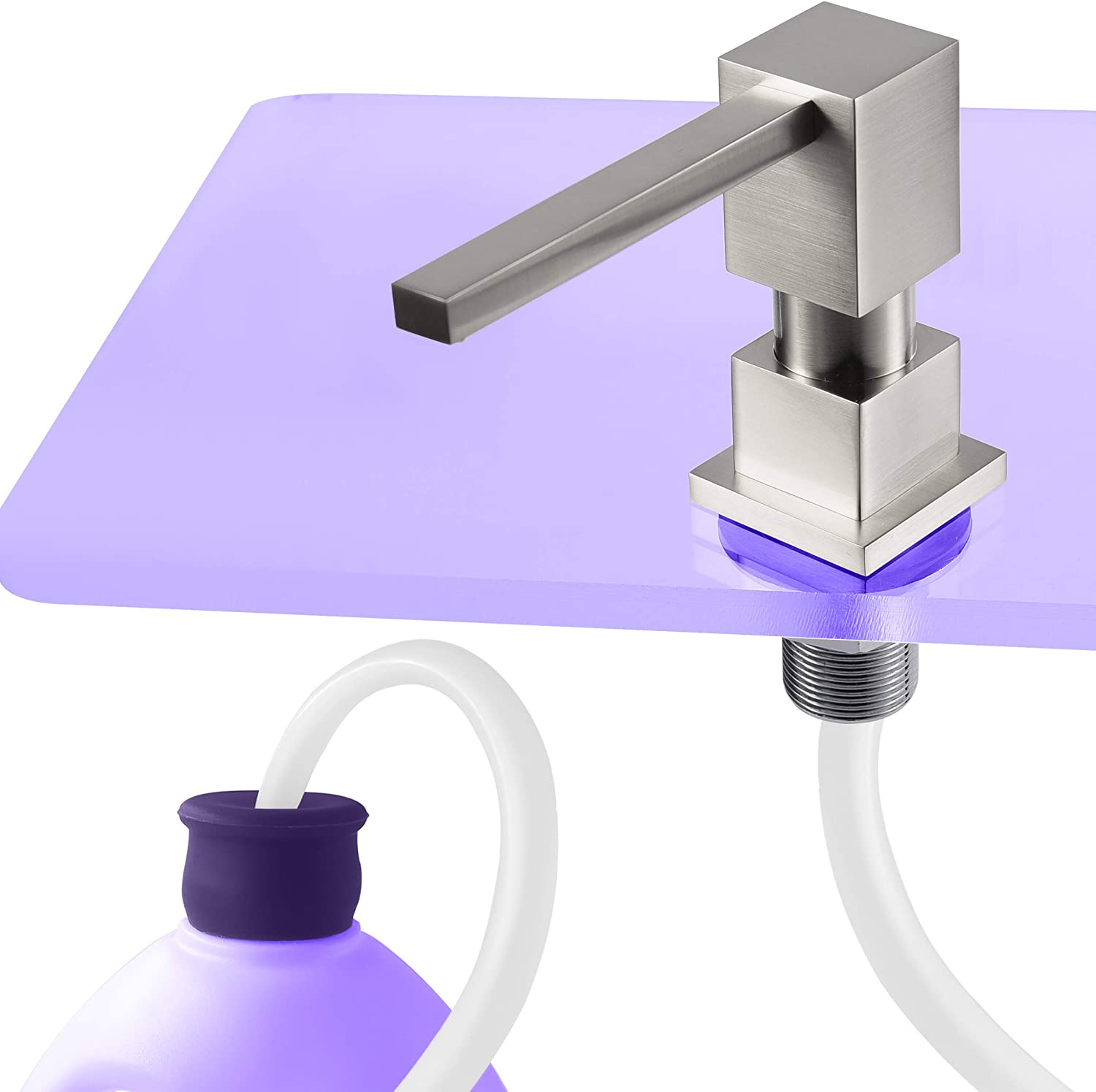 """Gagal Square Built in counter Soap Dispenser(Brushed Nickel) and Extension Tube Kit for Kitchen Sink, Complete Brass Pump with 40"""" Silicone Tube Connect to Soap Bottle Directly, Say Goodbye to Refills"""