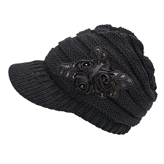 NYKKOLA Women Cable Knit Winter Warm Beanie Hats Newsboy Cap Visor with  Sequined Flower - Black 0f861fcee28e