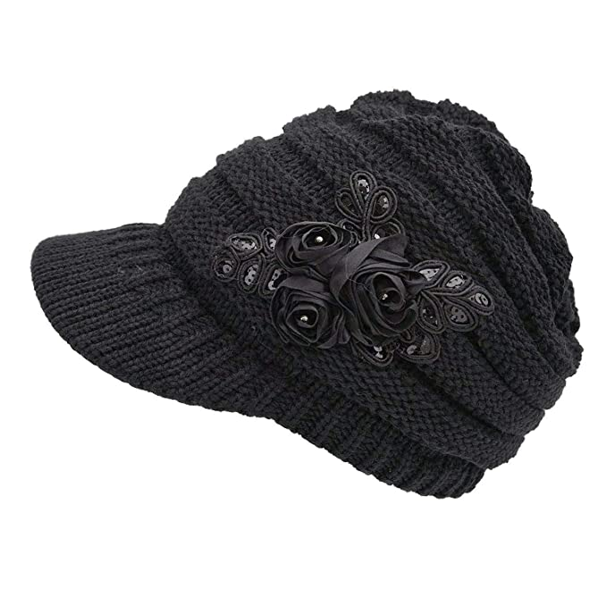 8607e5760c8 NYKKOLA Women Cable Knit Winter Warm Beanie Hats Newsboy Cap Visor with  Sequined Flower - Black