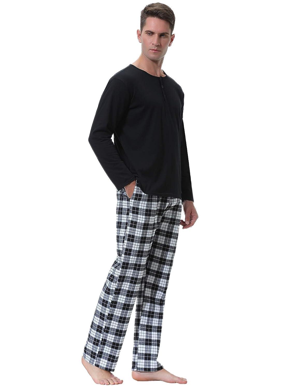 Aibrou Pyjama Homme Coton Ensemble de Pyjamas Nuit Manche Longue Col Rond pour Tout Les Saisons