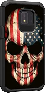 TurtleArmor | Compatible with Samsung Galaxy J2 Core Case | J2 Dash Case | J2 Pure Case | J2 Shine Case | Slim Dual Layer TPU Hard Armor Hybrid Shell Case - US Flag Skull