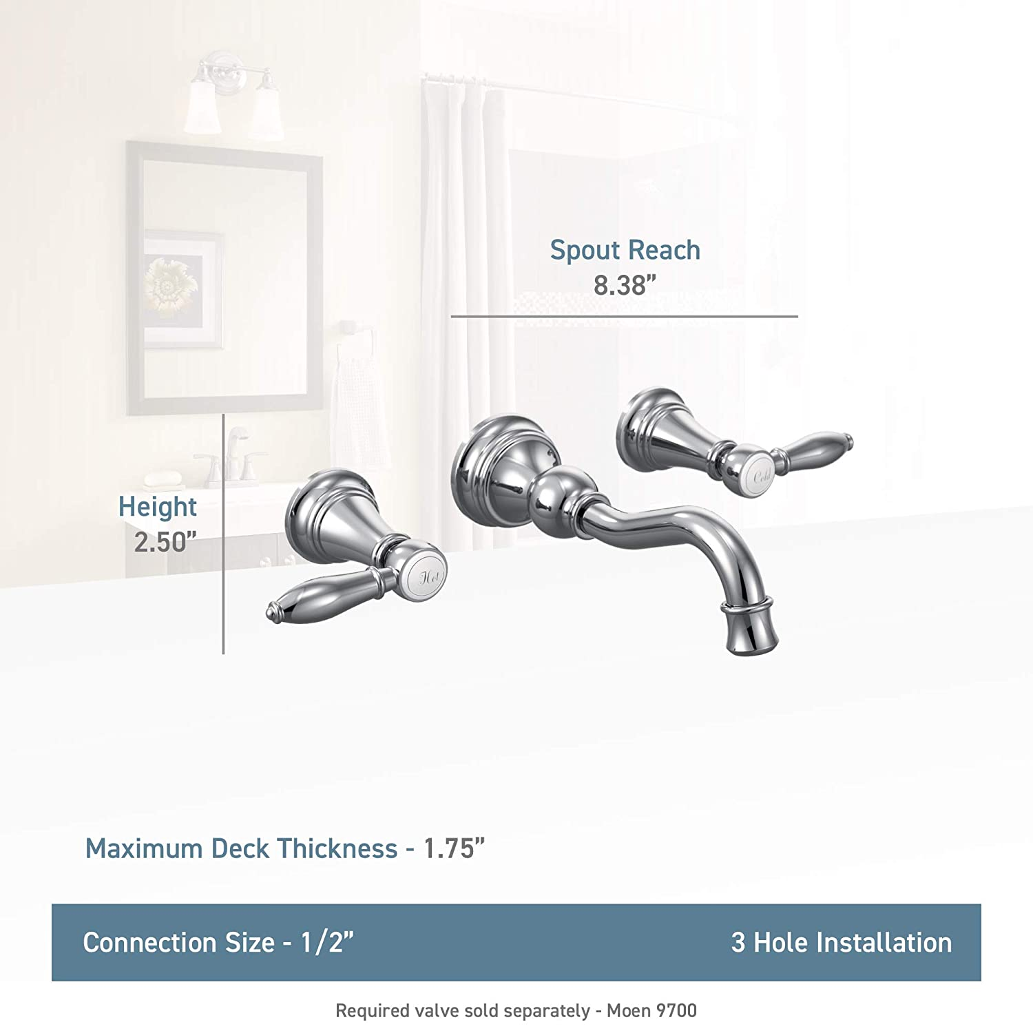 Nickel Moen TS42106NL Weymouth Two-Handle High Arc Wall Mount Bathroom Faucet