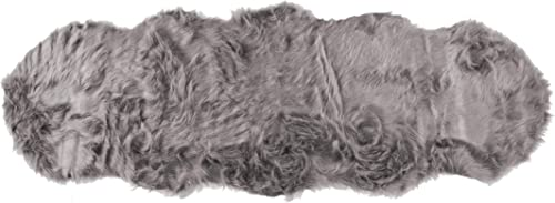 Luxe Faux Fur Luxury Soft Premium Quality Thick Lush Fade Resistant Shed Free 100 Animal-Free Gordon Faux Sheepskin Area Rug, 2 ft x 6 ft, Grey