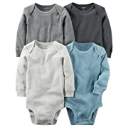 car Carter's Baby Boys 4-pack Long-sleeve Bodysuits (6 months, Gray Solids)