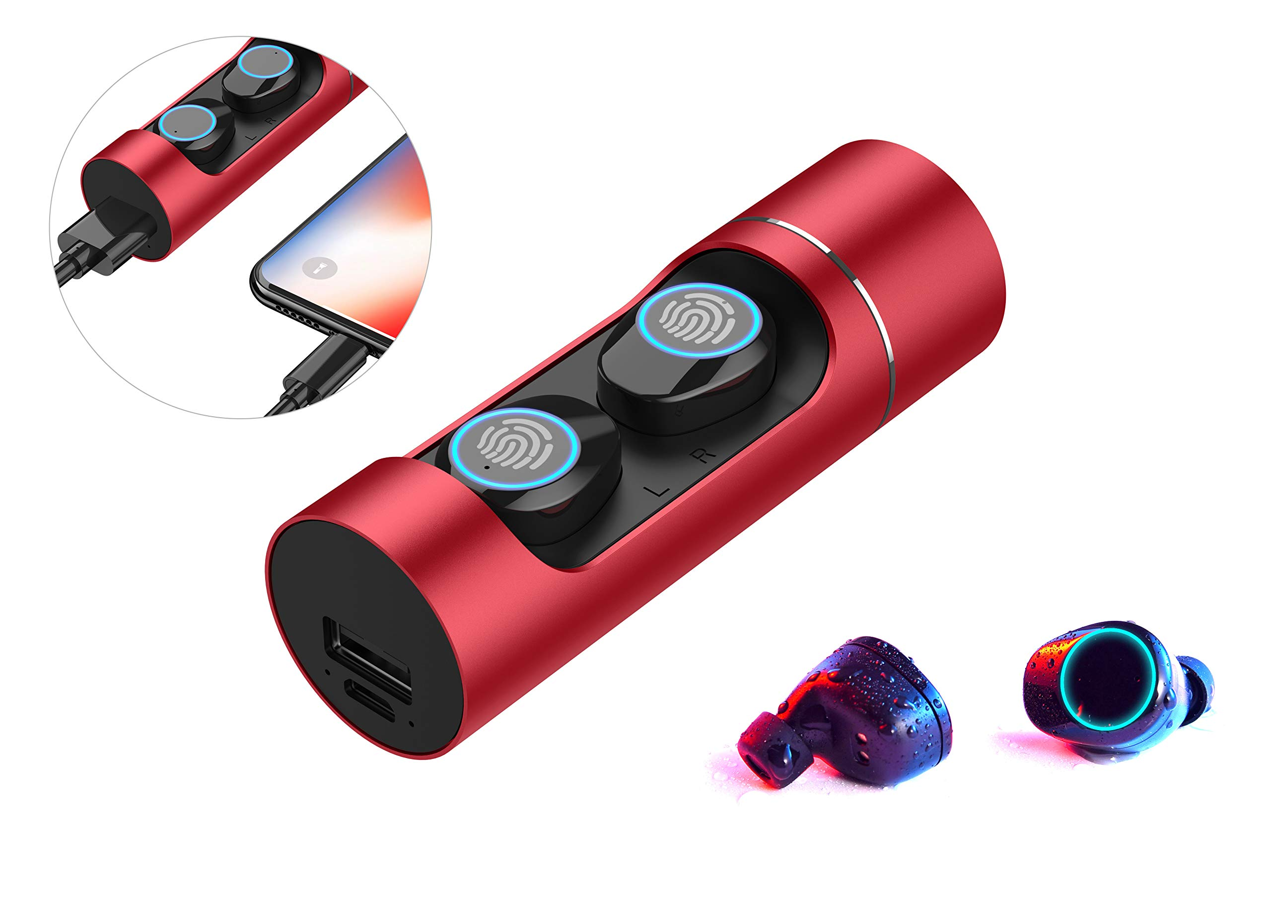 Wireless Earbuds True 5.0 Bluetooth with Microphone Binaural Call Active Noise Cancelling Auto Pairing Bass Boost Battery Bank with Charging Case Fingerprint Touch Classic Universal Red Sweatproof