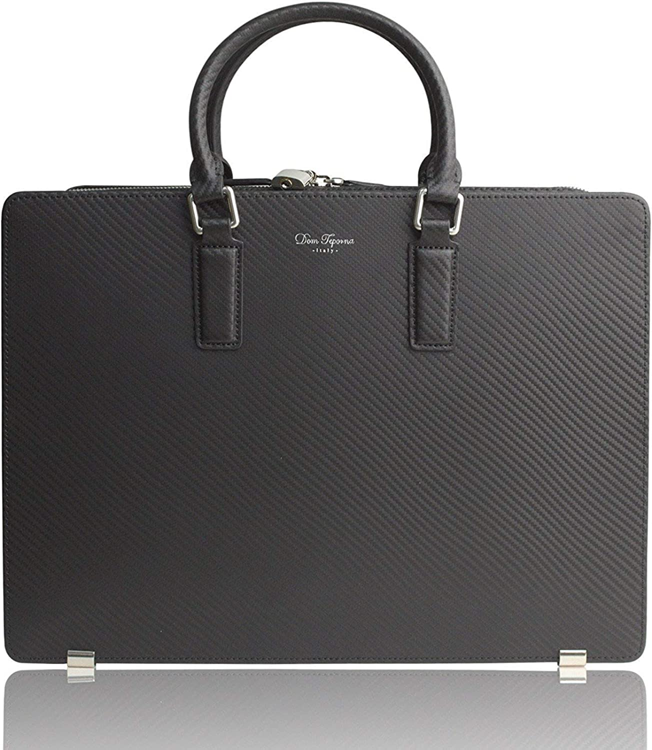 Dom Teporna Italy Carbon Genuine Leather Briefcase for Men Business Bag Water Resistant Designed in Japan