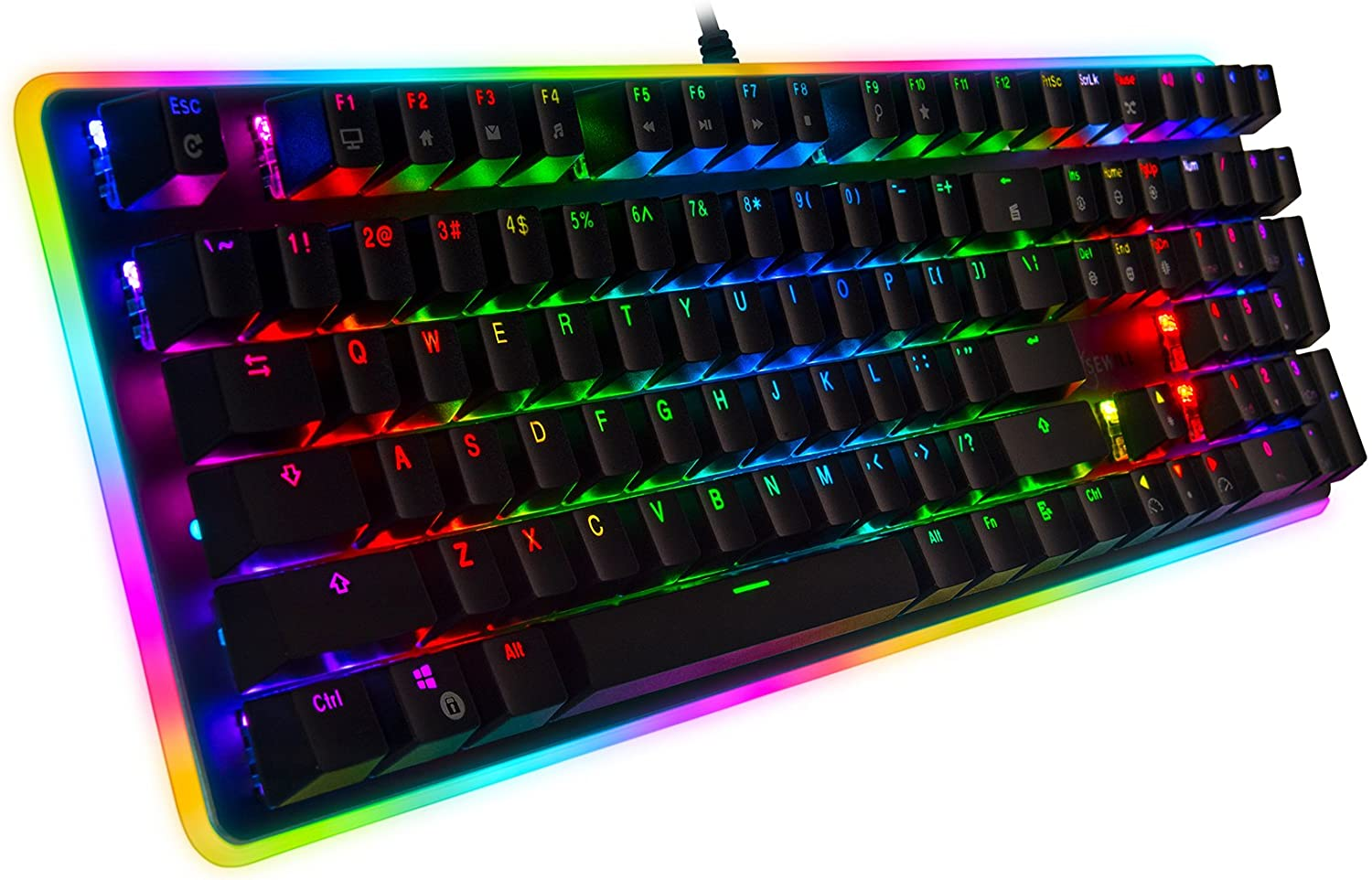 Rosewill Mechanical Gaming Keyboard, RGB LED Glow Backlit Computer Mechanical Switch Keyboard for PC, Laptop, Mac, Software Customizable - Professional Gaming Brown Mechanical Switch