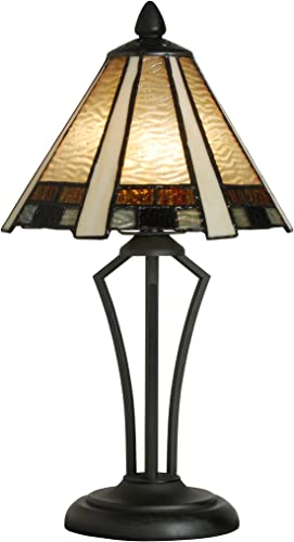 Tiffany Style Banker Table Lamp Stained Glass Mini Small Accent Decorative Antique Lighting Coffee Table Desk Bedroom Living Room Bedside Reading Night Light Cream Yellow Amber White Black 14 X 8 inch