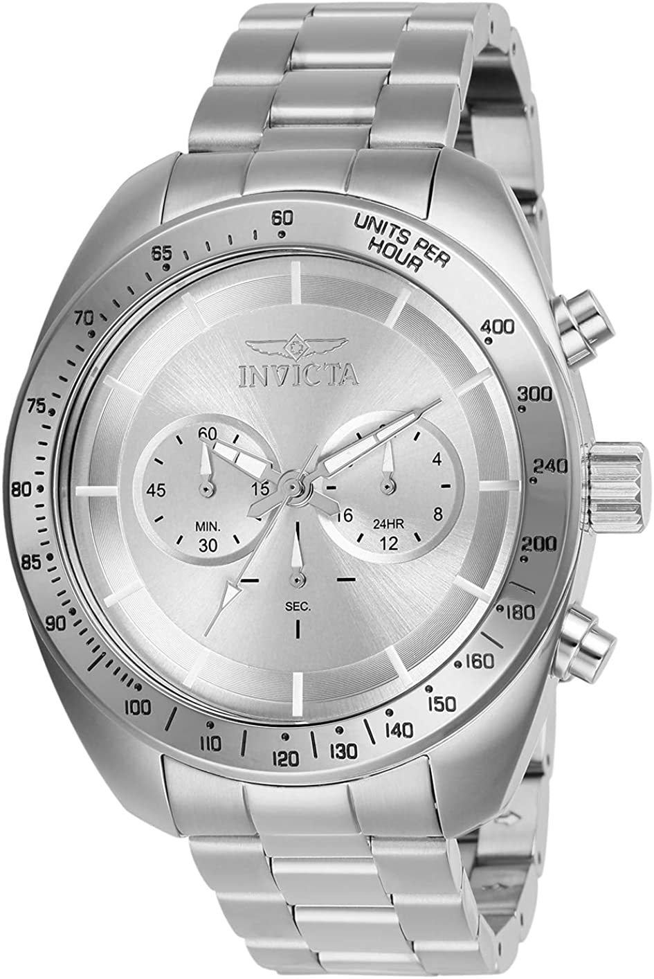 Invicta Men's Speedway Quartz Watch with Stainless Steel Strap, Silver, 22 (Model: 28904)