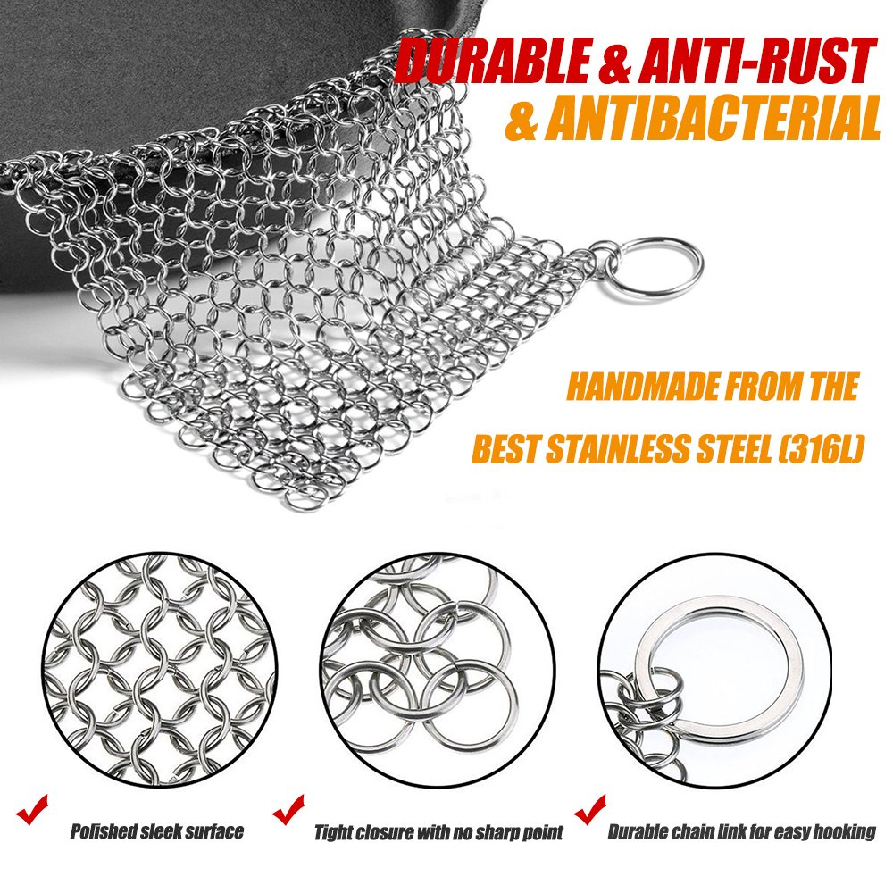 Hierro fundido cleaner-stainless acero Chainmail Depurador ...