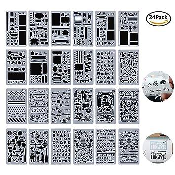 Juego de 24 plantillas de dibujo para niños, creativas plantillas de bricolaje, para pintar y pintar con dibujo, para manualidades, moldes ...