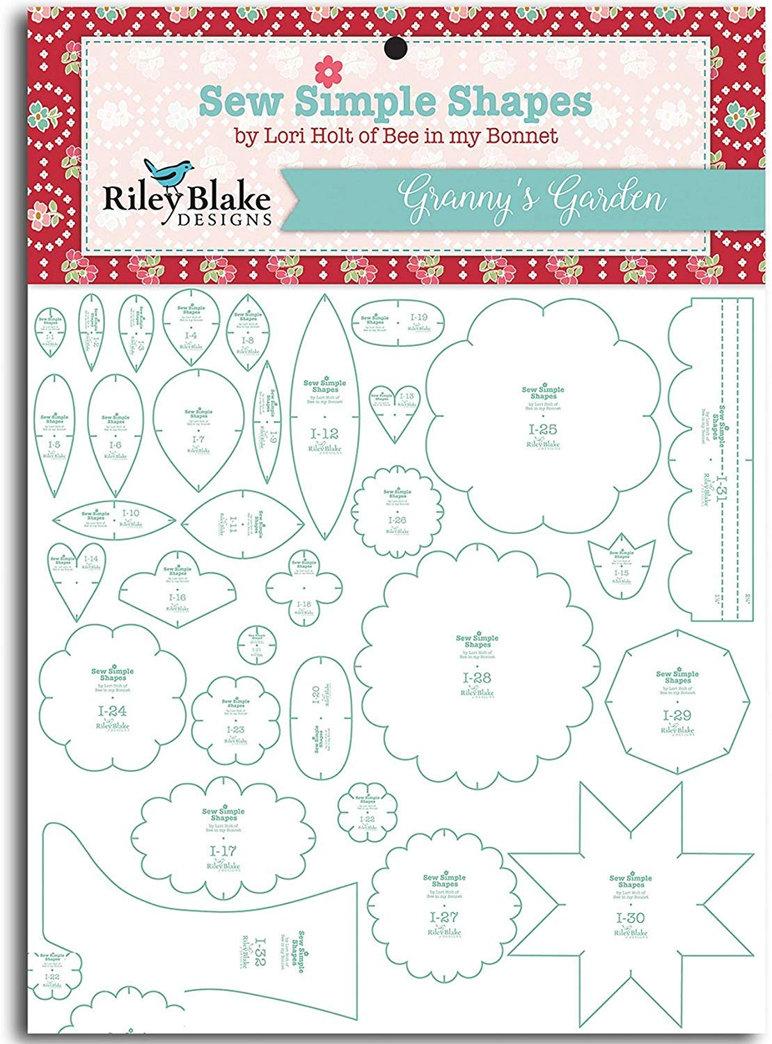 Granny's Garden Sew Simple Shapes 32 Quilt Templates Set by Lori Holt ST-2674 by Riley Blake Designs