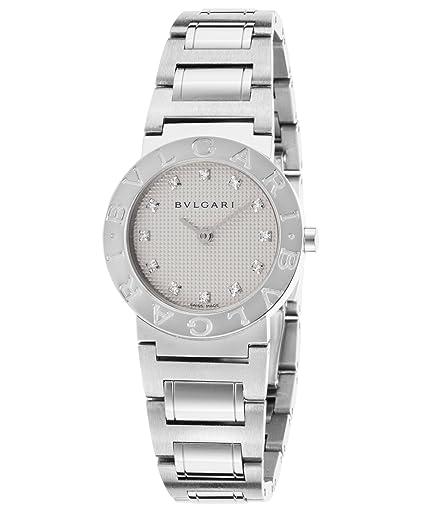 Bulgari bb26wss-12 N diamantes color blanco esfera redonda de acero inoxidable de la mujer reloj: Amazon.es: Relojes