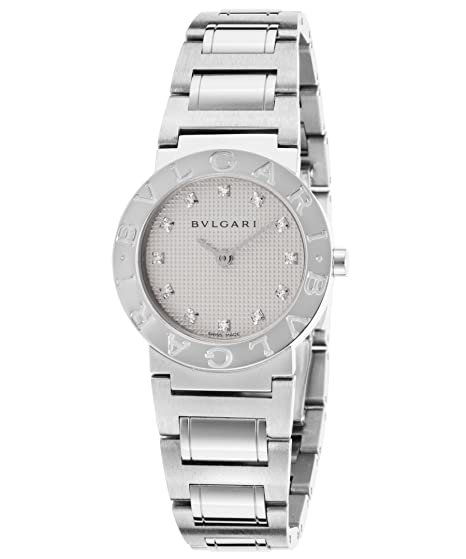 Bulgari bb26wss-12 N diamantes color blanco esfera redonda de acero inoxidable de la mujer