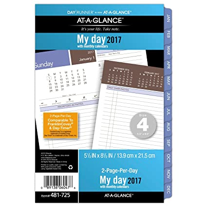 at a glance day runner daily planner refill 2017 loose leaf 5 1 2