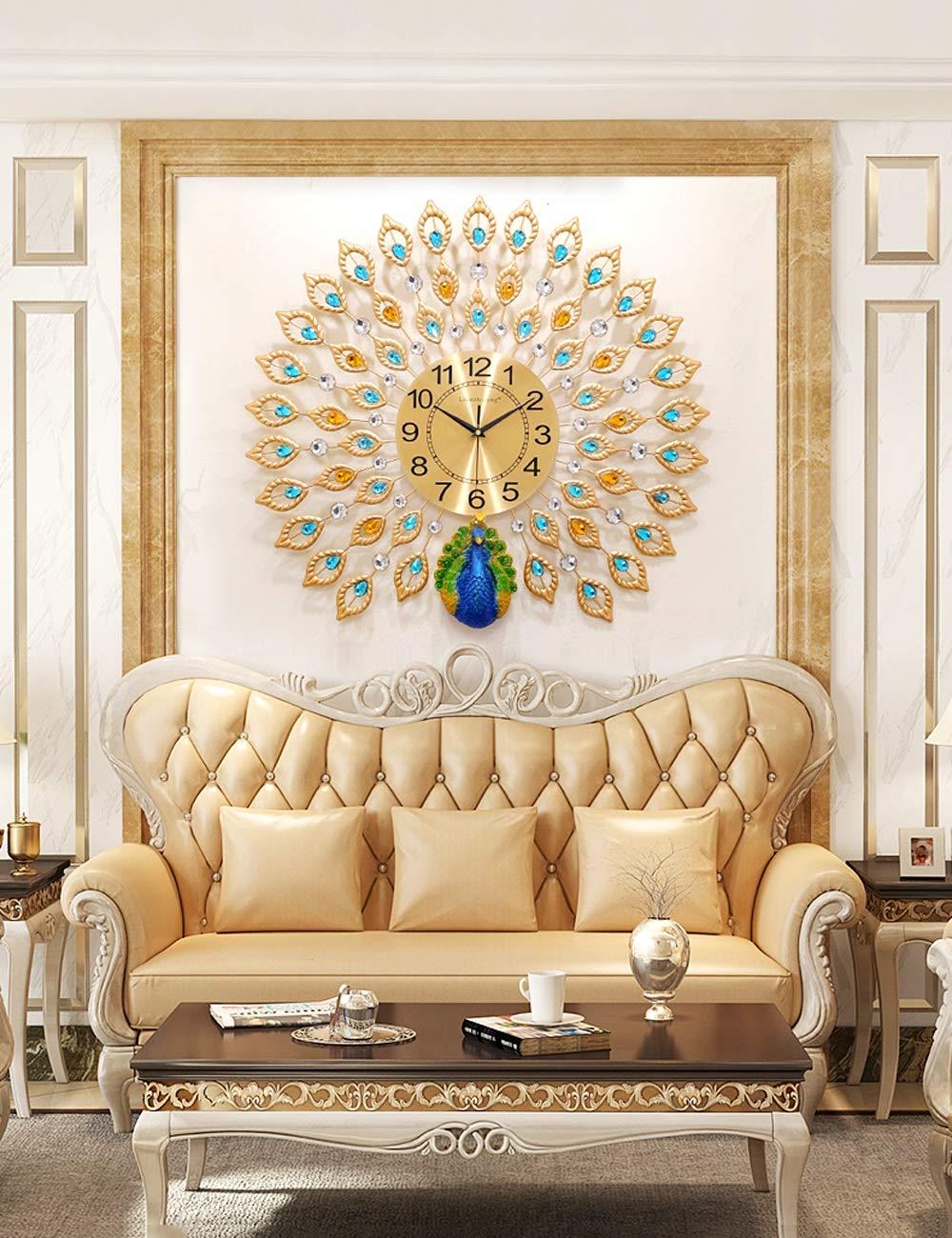 Bidesen Startseite Deko 60x60cm Pfau Uhr Wanduhr Wohnzimmer kreative europäischen Haushalt stumm Uhr Moderne minimalistische Atmosphäre Wanduhr Quarzuhr