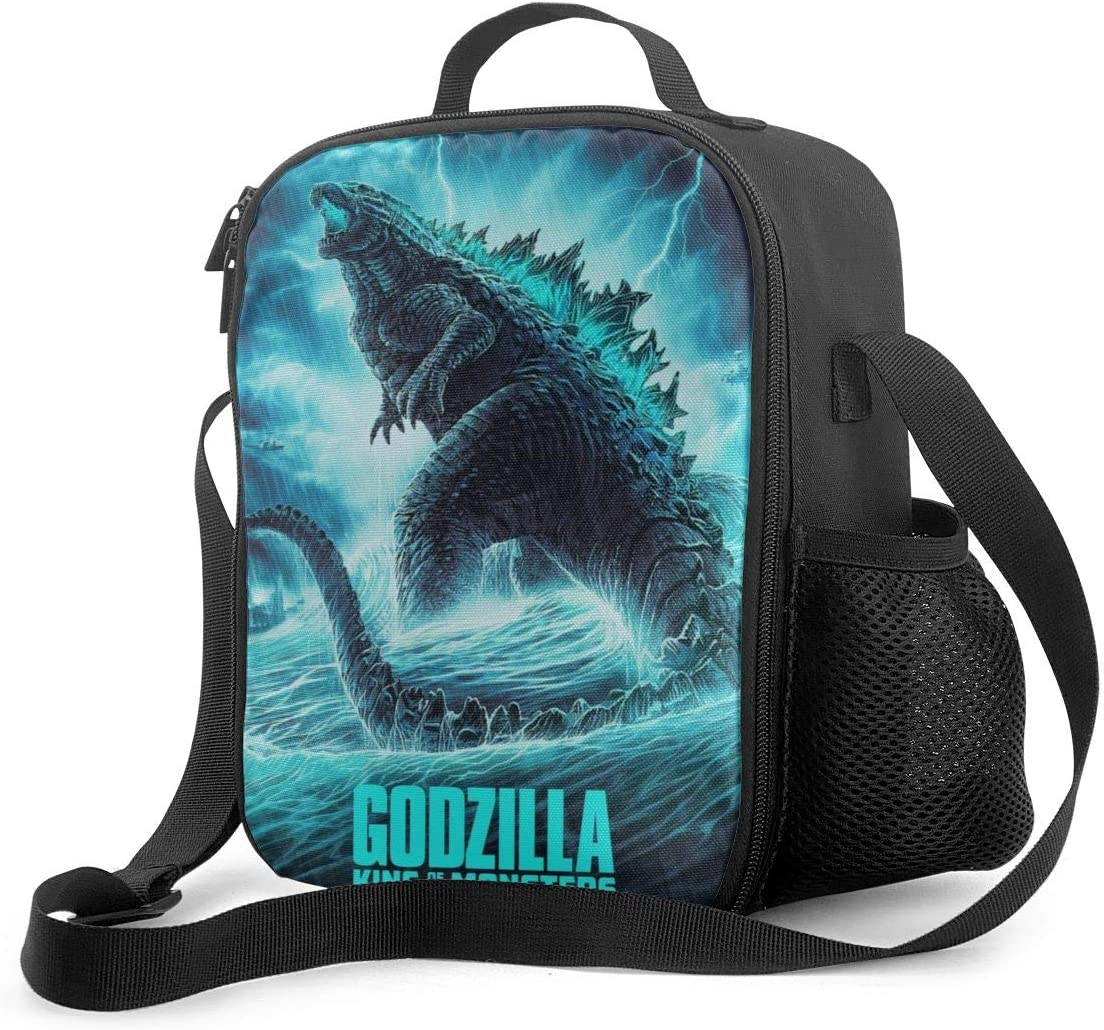 Oxford Cloth Leakproof Insulated Reusable Cooler Lunch Bag,Godzilla King Of Monsters Art Poster Lunchbag,Durable Portable Office Work School Lunch Box Cooler Holder Lunchboxes Tote Bag Handbags