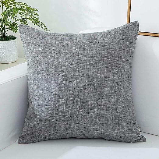 DSAQAO Color sólido Lino Sqaure Throw Pillow, Cuidado facil ...