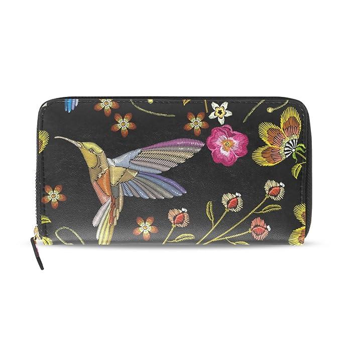 fae50c09328f Women Wallet Purse Tropical Flowers Humming Bird Clutch Bag Zipper ...