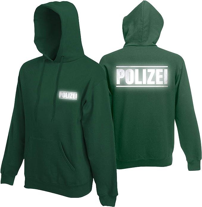 Herren Polizei Sweatshirt Druck mit Streifen auf Brust /& Rücken