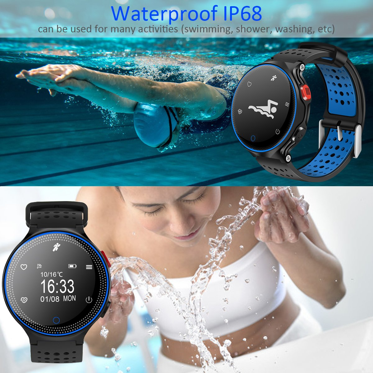 Padgene Sports Bracelet, Bluetooth 4.0 Fitness Activity Tracker IP68 Waterproof Smart Watch Sport Tracker Health Wireless Monitor Wristband with Sleep ...