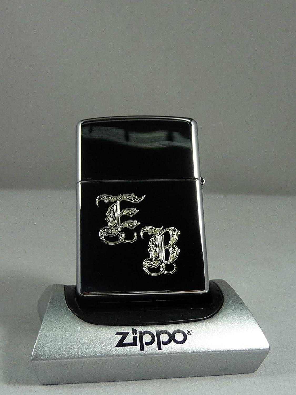 Zippo Feuerzeug mit Wunschgravur Initialen//Monogramm Chrome high polished