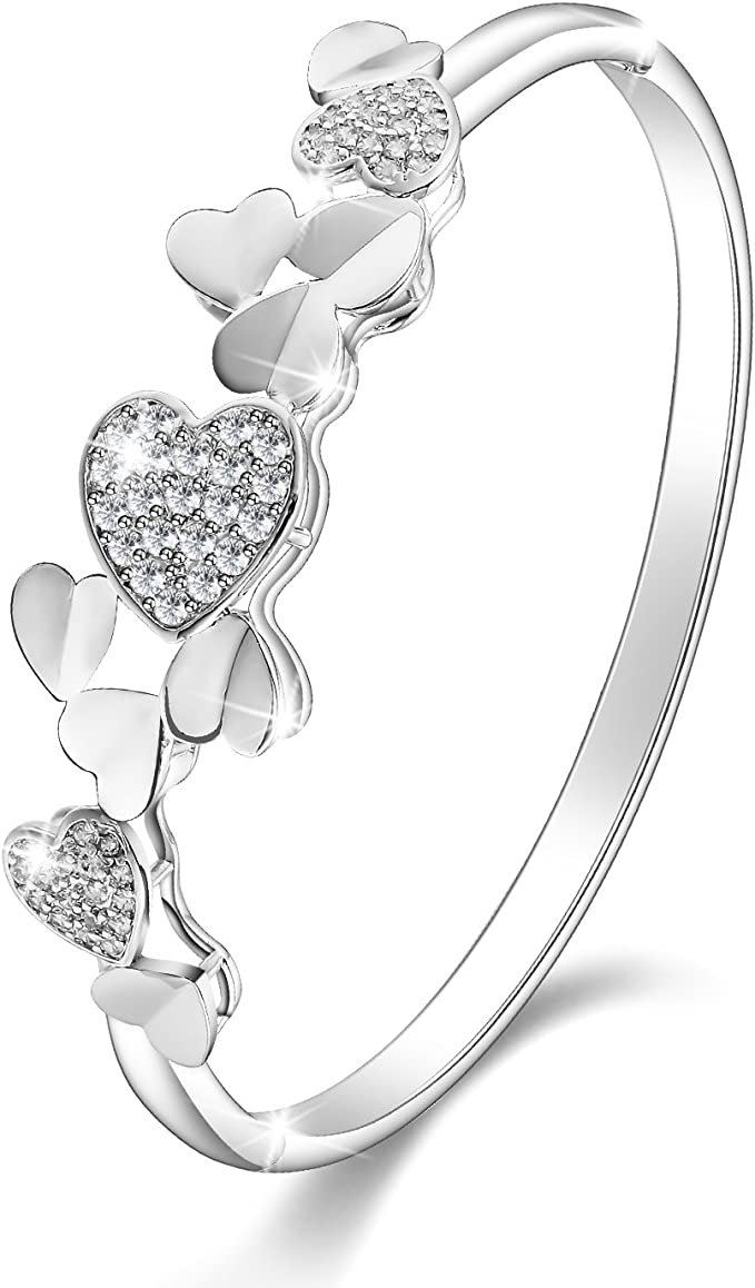 "Menton Eizl 18K White Gold Plated""Heart By Heart"" CZ Diamonds Accent Bangle Bracelets Jewelry for Women Love Design"