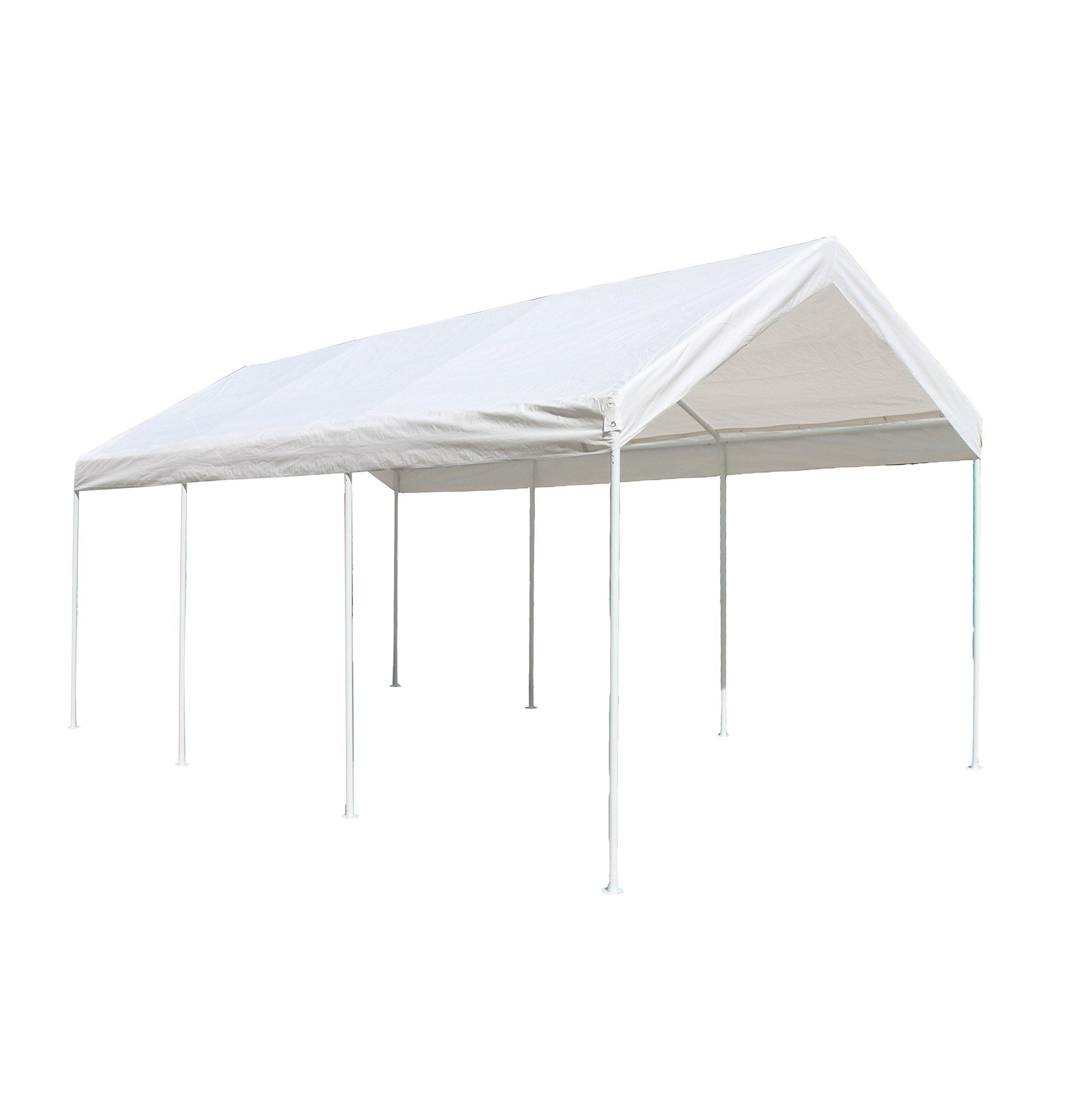ALEKO CP1020NS 10 X 20 Heavy Duty Steel Frame Carport, Polyethylene Party Tent in White