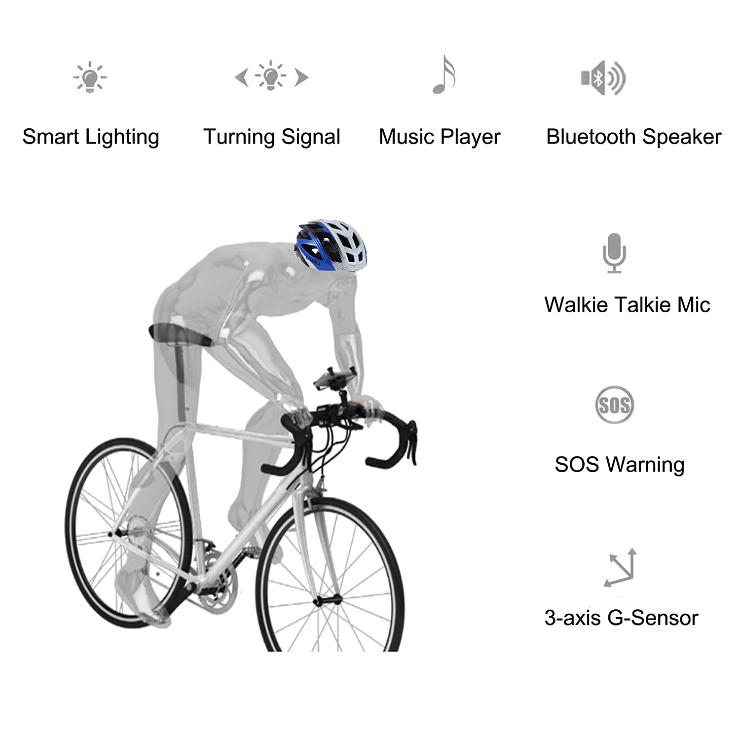 amazoncom livall smart bike helmet usb rechargeable bluetooth bicycle helmet tail light with turn signals hands free call walkie talkie music player