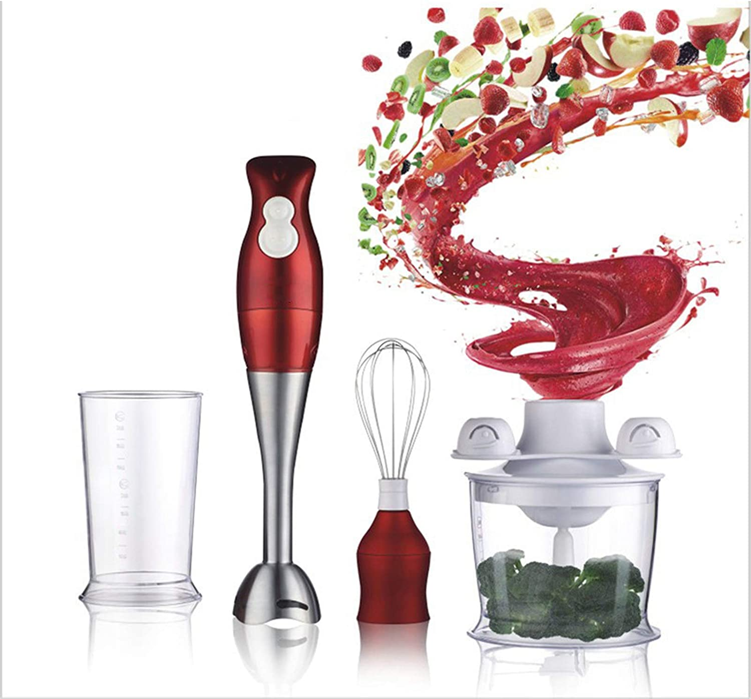 YFjyo Immersion Hand Blender,200W Electric Stick Blender with Blend & Chop,Whisk & Chopping Jar Attachments,Dual Speed,One-Handed Operation