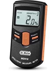 [Upgraded] Pinless Wood Moisture Meter, Dr.meter Inductive Pinless Tools, Intelligent Lumber Moisture Meter, Digital Moisture Meter for Wood, (Range 4% - 80% RH; Accuracy: 0.5%), MD918