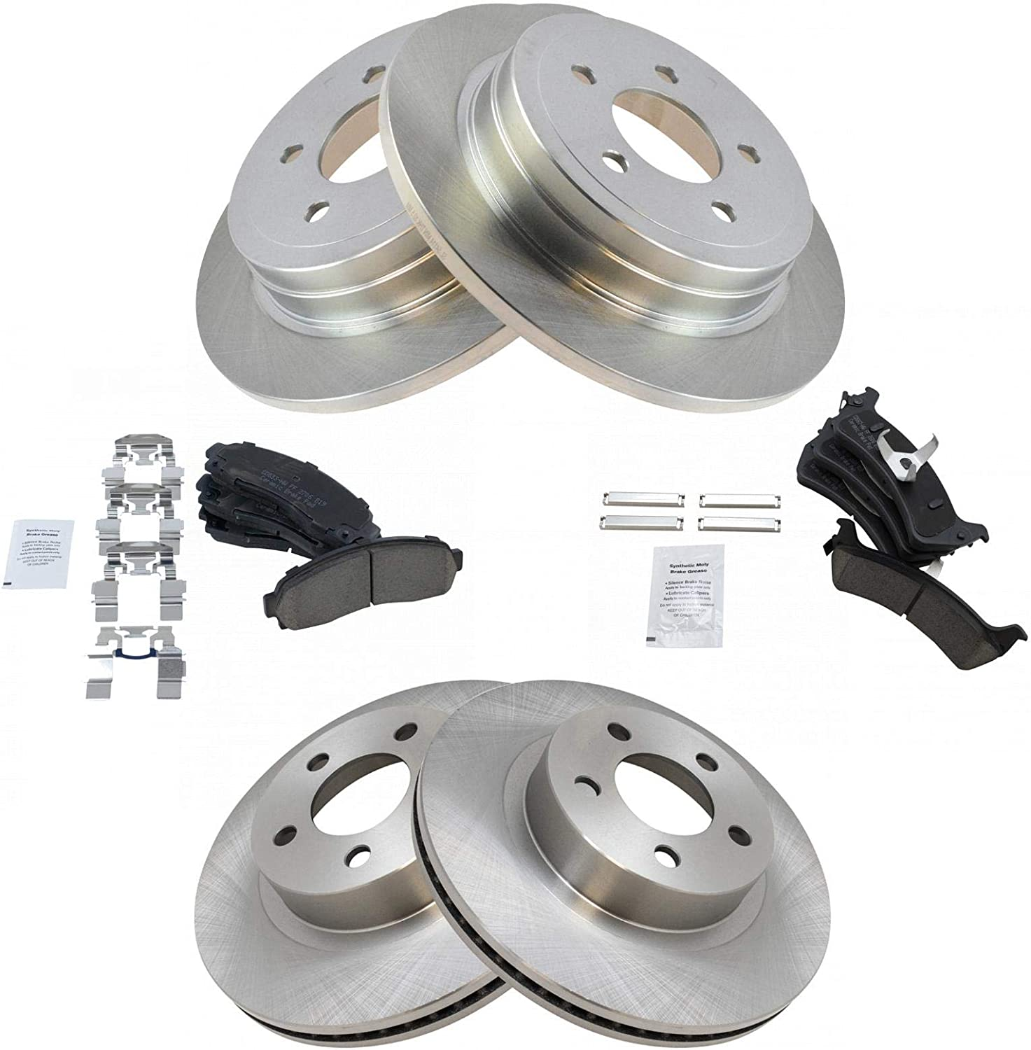 Brake Pads Include Hardware With Two Years Manufacturer Warranty Rear Disc Brake Rotors and Ceramic Brake Pads for 2004 Ford Explorer