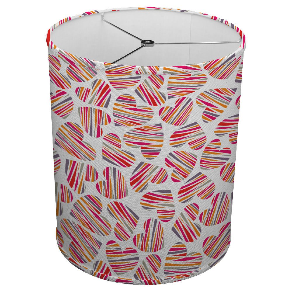 Hardback Linen Drum Cylinder Lamp Shade 8'' x 8'' x 8'' Spider Construction [ Colorful Heart Love ]