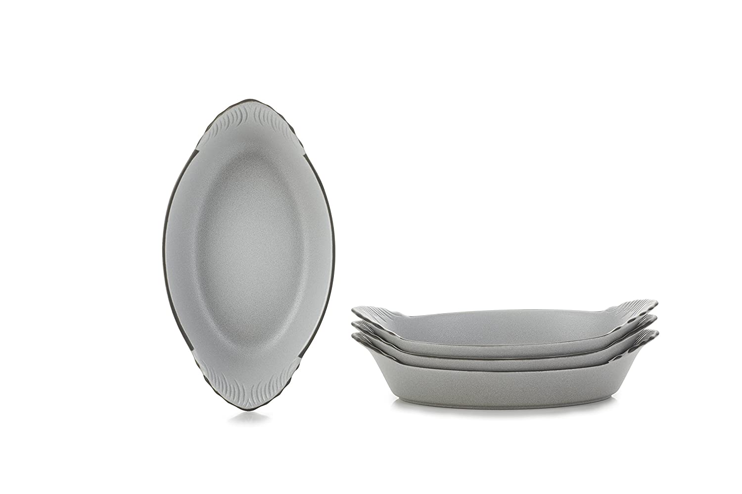 REVOL 651704/4 Oval Eared Dishes, Set Of 4, 7.75' x 4.25' x 1.5', Cast Iron Style