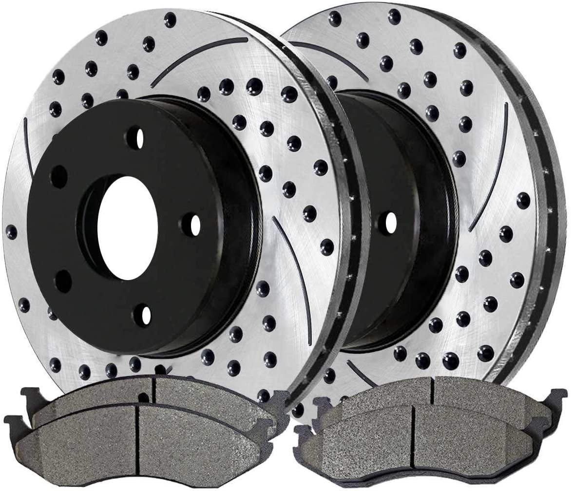 Prime Choice Auto Parts SCDPR63986398477 Pair of Drilled and Slotted Rotors and Premium Ceramic Brake Pads