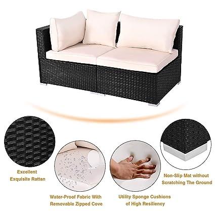 Amazon.com: Lucky-gift – Juego de muebles de ratán para ...