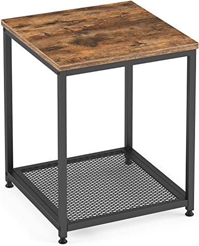 Ballucci End Table, Industrial Side Table 2-Tier with Storage Shelf, Wood Accent Furniture, Metal Frame, Easy to Assemble, Nightstand, Living Room, Bedroom, Rustic Brown