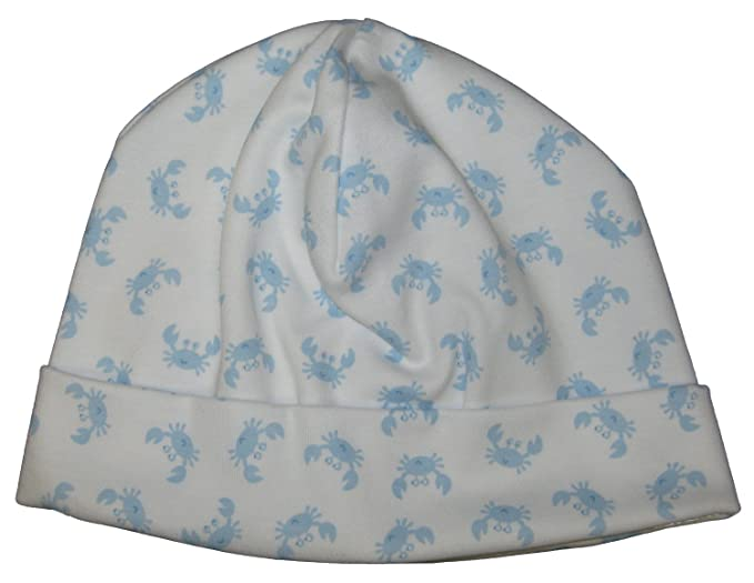 e625c6d8bdd Amazon.com  Kissy Kissy Baby-Boys Infant Curious Crabs Print Hat-White With  Blue-Newborn  Clothing