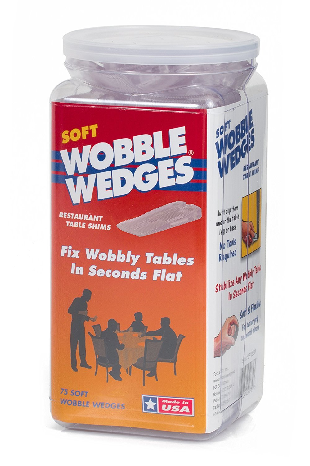 Wobble Wedges Multi-Purpose Shims-Soft Clear 75 pack -Easy to Trim -Protect Delicate Surfaces -Level Restaurant Tables, Household Furniture and Plumbing Fixtures -Use as Clamping Pad on Angled Surface by WOBBLE WEDGES