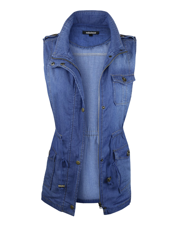 makeitmint Women's Denim Light-Weight Pocket Jacket Vest w/Drawstring YJV0018-35MEDIUM-LRG