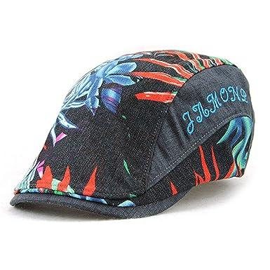 Men Women Floral Printed Newsboy Cap Spring Summer Baker Duckbill Visor Hat Couples Boina Gorras Planas