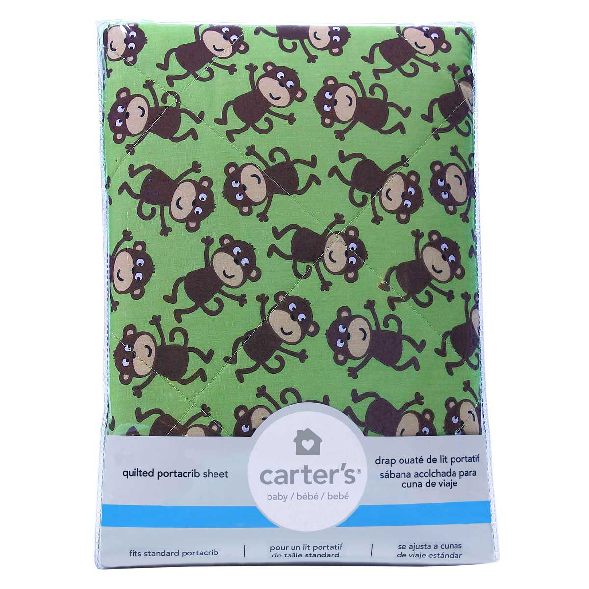 Amazon.com : Carters Quilted Portacrib/Playard Fitted Sheets - Monkey : Baby