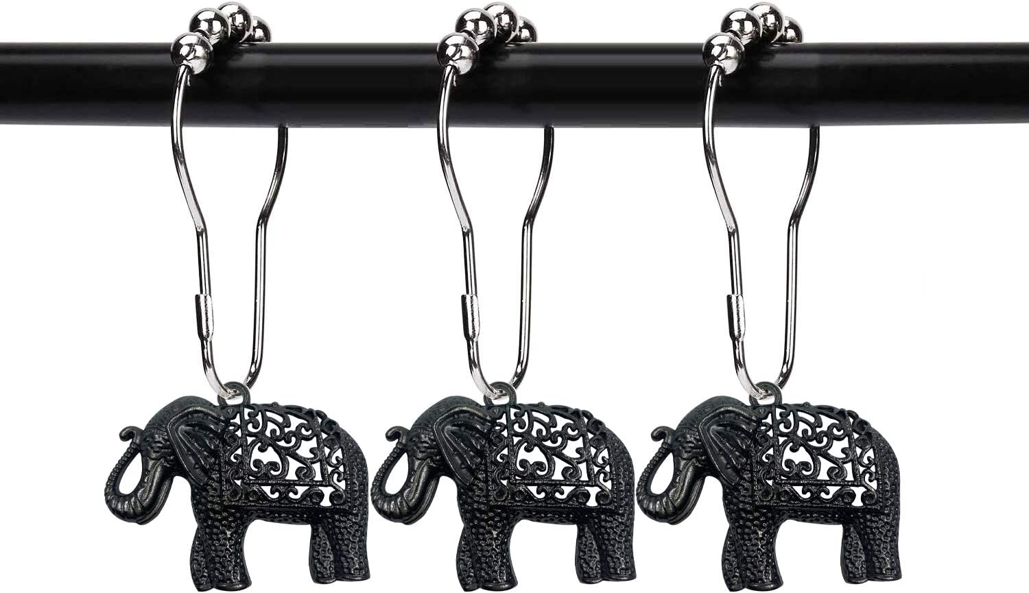 ZILucky Set of 12 Elephant Shower Curtain Hooks Decorative Home Bathroom Stainless Steel Rustproof Full Body with Filigree Swirls Shower Curtain Rings Decor Accessories (Black)