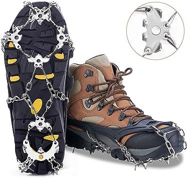 MIABOO Tacos de hielo Crampones Traction Sonw Grips con 19 pinchos de acero inoxidable y silicona duradera, botas antideslizantes para caminar, ...
